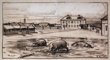 Улица города Б. (Б.М. Кустодиев, 1905 г.)
