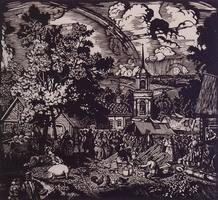 Ярмарка в деревне (Б.М. Кустодиев, 1927 г.)