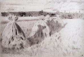 Сжатое поле со снопами (Б.М. Кустодиев, 1905 г.)