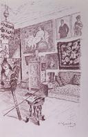 Вид мастерской (Б. Кустодиев, 1926 г.)