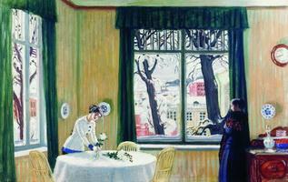 В комнатах зимой (Б. Кустодиев, 1915 г.)