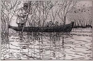 Иллюстрация к стихотворению Дедушка Мазай и зайцы Н.А. Некрасова (Б. Кустодиев, 1908 г.)