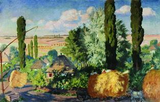 Украинский пейзаж (Б.М. Кустодиев, 1925 г.)