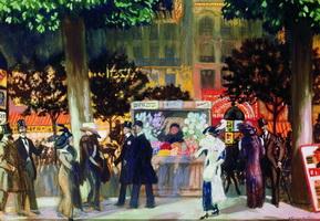 Парижский бульвар ночью (Б.М. Кустодиев, 1913 г.)