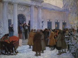 Чтение манифеста (Б.М. Кустодиев, 1909 г.)