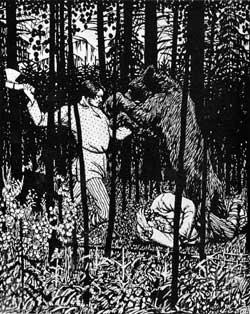 Б.М.Кустодиев. Иллюстрация к басне И.А.Крылова «Крестьянин и работник». 1909 г.