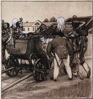 Офицеры у коляски (Б.М. Кустодиев, 1905 г.)