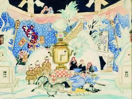 Эскиз декорации к спектаклю Блоха (Б.М. Кустодиев, 1925 г.)