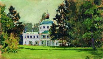 Усадьба в парке (Б.М. Кустодиев, 1912 г.)
