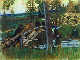 Строят монастырь (Б.М. Кустодиев, 1906 г.)