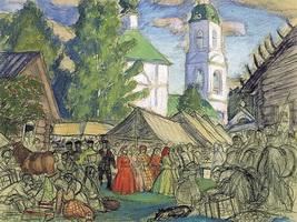 Улица в провинциальном городке (Б.М. Кустодиев, 1917 г.)