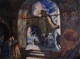 Под сводам старинной церкви (Б.М. Кустодиев, 1918 г.)