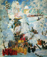 Зима. Крещенское водосвятие (Б. Кустодиев, 1921 г.)