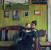 Портрет Ю.Е. Кустодиевой с дочерью Ириной (Б.М. Кустодиев, 1908 г.)