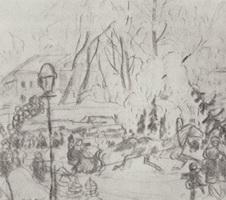 Подготовительный рисунок к картине Елочный торг (Б.М. Кустодиев, 1918 г.)