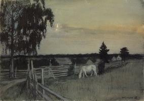 Пасущиеся лошади (Б.М. Кустодиев, 1909 г.)