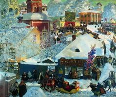 Зима. Масленичное гулянье (Б. Кустодиев, 1919 г.)
