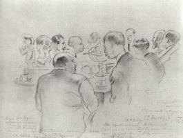 Проводы М.В. Добужинского в Европу (Б.М. Кустодиев, 1924 г.)