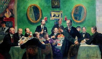 Групповой портрет художников общества Мир искусства (Б. Кустодиев, 1916-1920 гг.)