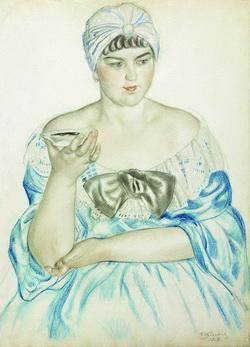 Женщина, пьющая чай (Б. Кустодиев, 1918 г.)