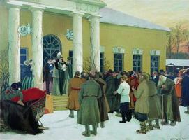 Чтение манифеста - Освобождение крестьян (Б.М. Кустодиев, 1907 г.)