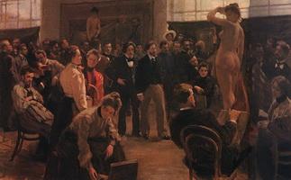 Постановка модели в мастерской И.Е. Репина в Академии художеств (Б.М. Кустодиев, 1899 г.)