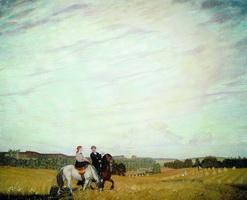 Прогулка верхом - Автопортрет с женой (Б.М. Кустодиев, 1915 г.)