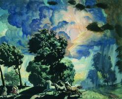 Лошади во время грозы (Б. Кустодиев, 1918 г.)