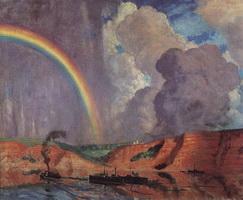 Волга. Радуга (Б. Кустодиев, 1925 г.)
