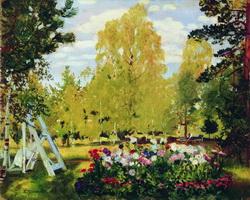 Пейзаж с цветочной клумбой (Б.М. Кустодиев, 1917 г.)