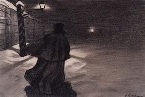 Возвращение Акакия Акакиевича из гостей. Вдали, бог знает где, мелькал огонек в какой-то будке...