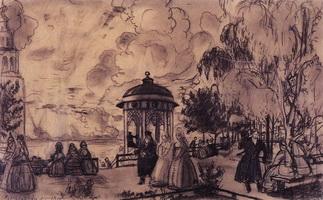 Общественный сад на высоком берегу Волги (Б.М. Кустодиев, 1919 г.)