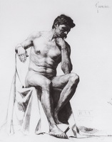 Сидящий натурщик (Б.М. Кустодиев, 1898 г.)