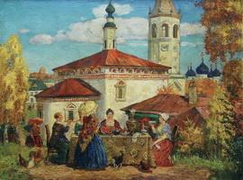 В старом Суздале (Б. Кустодиев)