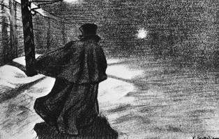 Акакий Акакиевич возвращается с вечера (Б. Кустодиев, 1905 г.)