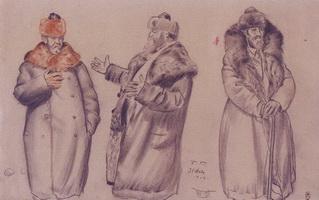 В.А. Кастальский. Три наброска (Б. Кустодиев, 1919 г.)