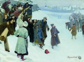 Кулачный бой на Москва-реке (Б. Кустодиев, 1897 г.)