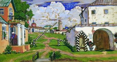 Площадь на выезде из города (Б.М. Кустодиев, 1911 г.)