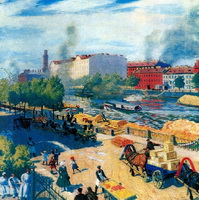 Фонтанка у Калинкина моста (Б.М. Кустодиев, 1916 г.)
