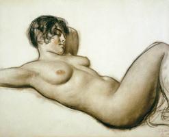 Лежащая натурщица (Б. Кустодиев, 1915 г.)