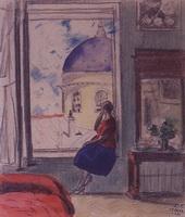 Интерьер. Женская фигура у окна в мастерской