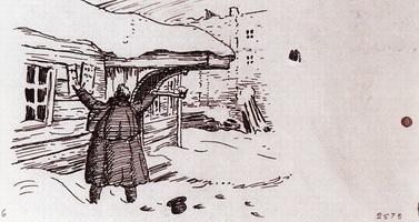 Штопальщик срывает вывеску - Барин у дома штопальщика (Б.М. Кустодиев, 1922 г.)