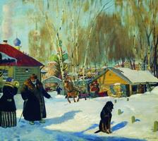 Купеческий двор (Б. Кустодиев, 1921 г.)