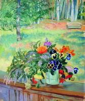 Букет цветов на балконе (Б. Кустодиев, 1924 г.)