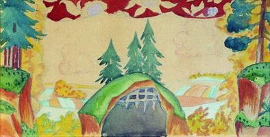 Эскиз декорации к кукольной постановке Петушок - Золотой гребешок (1927 г.)