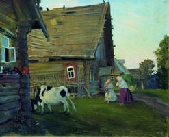 Изба. Костромская губерния (Б. Кустодиев, 1909-1917 г.)