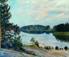 Лесное озеро в Конкола (Б. Кустодиев, 1917 г.)